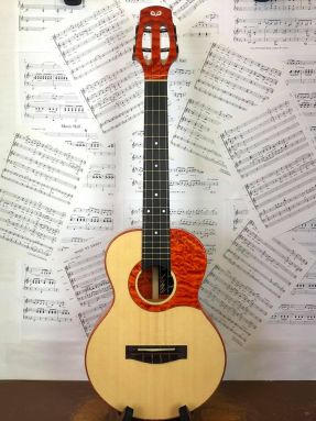 OulCraft Custom #102 Port Orford Cedar/Quilted Maple Tenor Ukulele w/Orange Stain