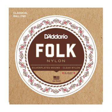 D'Addario EJ32C Clear Folk Nylon Ball End Strings for Guitaleles