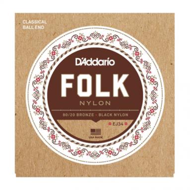 D'Addario EJ34 Black Folk Nylon Ball End Strings for Guitaleles