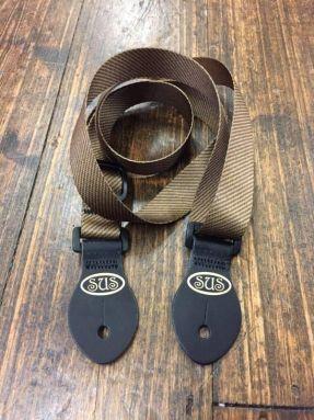 S.U.S Green/Grey Faded Tweed Nylon Webbed Ukulele Strap w/Leather ends
