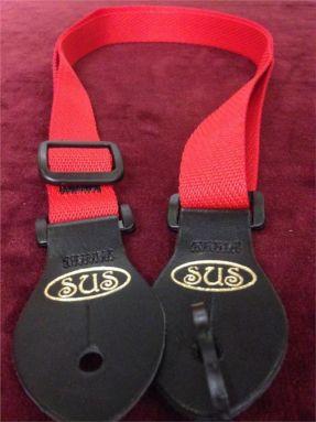 S.U.S Red Nylon Webbed Ukulele Strap w/Leather ends