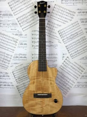 Pono TE-MD Natural Deluxe Electric Mango Tenor Ukulele Gloss with hard case
