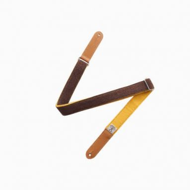 AnueNue US3YLW Brown/Yellow Wool Ukulele Strap w/Headstock tie