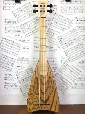 USED Magic Fluke Timber Fretless Electric Bass Ukulele Ash with Gigbag