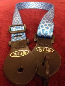 S.U.S Blue Leopard Print Nylon Webbed Ukulele Strap w/Leather ends