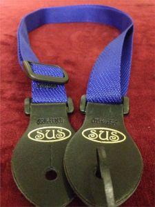 S.U.S Blue Nylon Webbed Ukulele Strap w/Leather ends