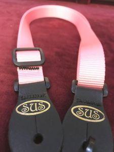 S.U.S Pink Nylon Webbed Ukulele Strap w/leather ends