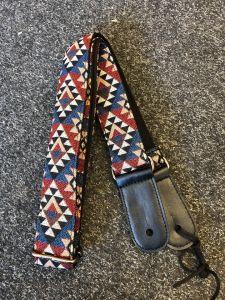 Funky Strap Co - Royal Jacquard blue/red/grey Triangles Ukulele Strap